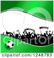 Clipart Of A 3d Soccer Ball With A Crowd Of Fans On Green And White Royalty Free Vector Illustration