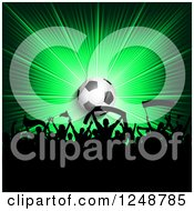 Clipart Of A 3d Soccer Ball Over A Crowd Of Fans On A Green Burst Royalty Free Vector Illustration