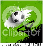 Clipart Of A 3d Soccer Ball And Grunge Over A Crowd Of Fans On Green Royalty Free Vector Illustration