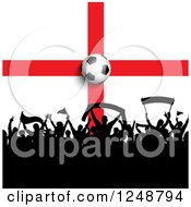 Clipart Of A 3d Soccer Ball Over A Crowd Of Fans And An English Flag Royalty Free Vector Illustration by KJ Pargeter