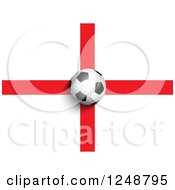 Clipart Of A 3d Soccer Ball Over An English Flag Royalty Free Vector Illustration by KJ Pargeter