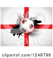 Clipart Of A 3d Soccer Ball And Splatter Over An English Flag Royalty Free Vector Illustration by KJ Pargeter
