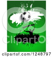 Clipart Of A 3d Soccer Ball Over A Splatter Crowd Of Fans On Green Royalty Free Vector Illustration