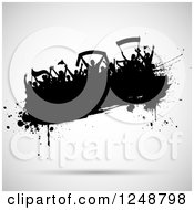Clipart Of A Black Splatter Crowd Of Soccer Fans Over Gray Royalty Free Vector Illustration