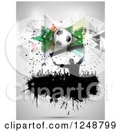Clipart Of A 3d Soccer Ball Over A Splatter Crowd Of Fans On Gray Royalty Free Vector Illustration by KJ Pargeter