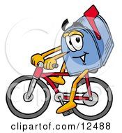 Clipart Picture Of A Blue Postal Mailbox Cartoon Character Riding A Bicycle
