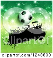 Clipart Of A 3d Soccer Ball Over A Splatter Crowd Of Fans On Green With Flares Royalty Free Vector Illustration by KJ Pargeter