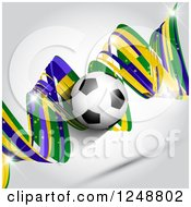 Clipart Of A 3d Soccer Ball Over A Brazilian Green Yellow And Blue Spiral On Gray Royalty Free Vector Illustration by KJ Pargeter