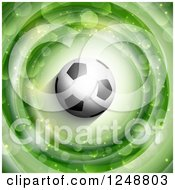 Clipart Of A 3d Soccer Ball Over Green Rings With Flares Royalty Free Vector Illustration