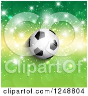 Clipart Of A 3d Soccer Ball Over Green And Yellow With Flares Royalty Free Vector Illustration