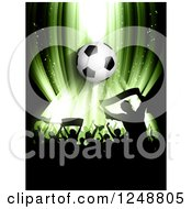 Clipart Of A 3d Soccer Ball Over A Crowd Of Fans On Green Royalty Free Vector Illustration by KJ Pargeter