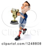 Clipart Of A 3d Caucasian French Soccer Player Running With A Trophy Royalty Free Illustration