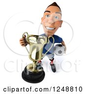 Clipart Of A 3d Caucasian French Soccer Player Holding Up A Trophy Royalty Free Illustration