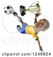 Clipart Of A 3d Brazilian Soccer Player Holding A Trophy And Kicking Royalty Free Illustration