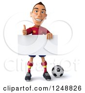 Clipart Of A 3d Male Spanish Soccer Player Holding A Thumb Up And A Blank Sign Royalty Free Illustration
