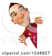 Clipart Of A 3d Male Spanish Soccer Player Giving A Thumb Down Around A Sign Royalty Free Illustration