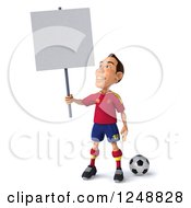 Clipart Of A 3d Male Spanish Soccer Player Holding Up A Blank Sign Royalty Free Illustration