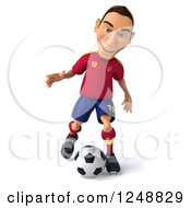 Clipart Of A 3d Male Spanish Soccer Player In Action Royalty Free Illustration