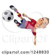 Clipart Of A 3d Male Spanish Soccer Player In Action 2 Royalty Free Illustration