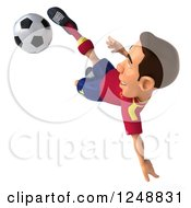 Clipart Of A 3d Male Spanish Soccer Player In Action 3 Royalty Free Illustration