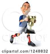 Clipart Of A 3d Caucasian French Soccer Player Running With A Trophy 2 Royalty Free Illustration