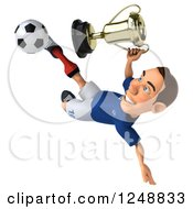 Clipart Of A 3d Caucasian French Soccer Player Kicking And Holding A Trophy Royalty Free Illustration