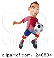 Clipart Of A 3d Male Spanish Soccer Player In Action 4 Royalty Free Illustration