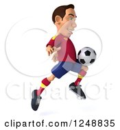 Clipart Of A 3d Male Spanish Soccer Player In Action 5 Royalty Free Illustration