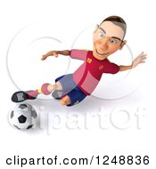 Clipart Of A 3d Male Spanish Soccer Player In Action 6 Royalty Free Illustration