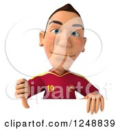 Clipart Of A 3d Male Spanish Soccer Player Giving A Thumb Down Over A Sign Royalty Free Illustration