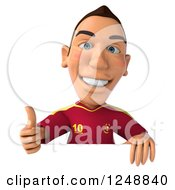 Clipart Of A 3d Male Spanish Soccer Player Giving A Thumb Up Over A Sign Royalty Free Illustration