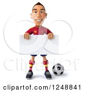 Clipart Of A 3d Male Spanish Soccer Player Holding A Blank Sign Royalty Free Illustration