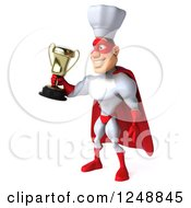 Clipart Of A 3d Male Super Chef Holding Out A Trophy Royalty Free Illustration