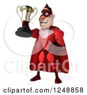Clipart Of A 3d Male Red Super Hero Holding Up A Trophy Cup 3 Royalty Free Illustration