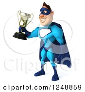 Clipart Of A 3d Male Blue Super Hero Holding A Trophy Cup 2 Royalty Free Illustration