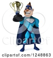 Clipart Of A 3d Male Blue Super Hero Holding Up A Trophy Cup 3 Royalty Free Illustration