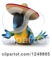 Clipart Of A 3d Blue And Yellow Mexican Macaw Parrot Presenting 2 Royalty Free Illustration