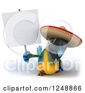 Clipart Of A 3d Blue And Yellow Mexican Macaw Parrot Holding Up A Blank Sign Royalty Free Illustration by Julos