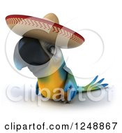 Clipart Of A 3d Blue And Yellow Mexican Macaw Parrot Looking Left Royalty Free Illustration by Julos