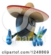Clipart Of A 3d Blue And Yellow Mexican Macaw Parrot Giving A Thumb Up Over A Sign Royalty Free Illustration by Julos