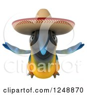 Clipart Of A 3d Blue And Yellow Mexican Macaw Parrot Flying Royalty Free Illustration by Julos
