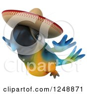 Clipart Of A 3d Blue And Yellow Mexican Macaw Parrot Flying 3 Royalty Free Illustration by Julos