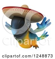 Clipart Of A 3d Blue And Yellow Mexican Macaw Parrot Flying 2 Royalty Free Illustration by Julos
