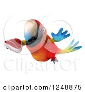Clipart Of A 3d Macaw Parrot Flying With A Steak 2 Royalty Free Illustration