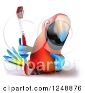 Clipart Of A 3d Macaw Parrot Holding And Pointing To A Toothbrush Royalty Free Illustration