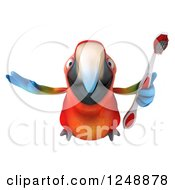 Clipart Of A 3d Macaw Parrot Flying With A Toothbrush Royalty Free Illustration