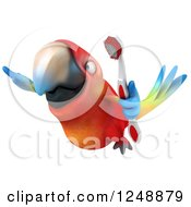 Clipart Of A 3d Macaw Parrot Flying With A Toothbrush 2 Royalty Free Illustration