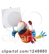 Clipart Of A 3d Macaw Parrot Flying With A Blank Sign And A Toothbrush Royalty Free Illustration