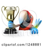 Clipart Of A 3d Macaw Parrot Holding A Trophy Cup Over A Sign Royalty Free Illustration