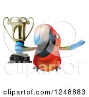 Clipart Of A 3d Macaw Parrot Flying With A Trophy Cup 2 Royalty Free Illustration